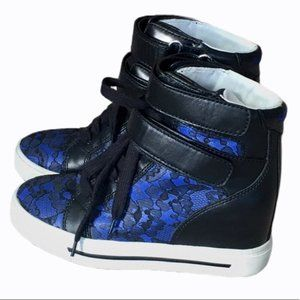 MARC JACOBS Blue Leather Lace Hi Top Sneakers 5